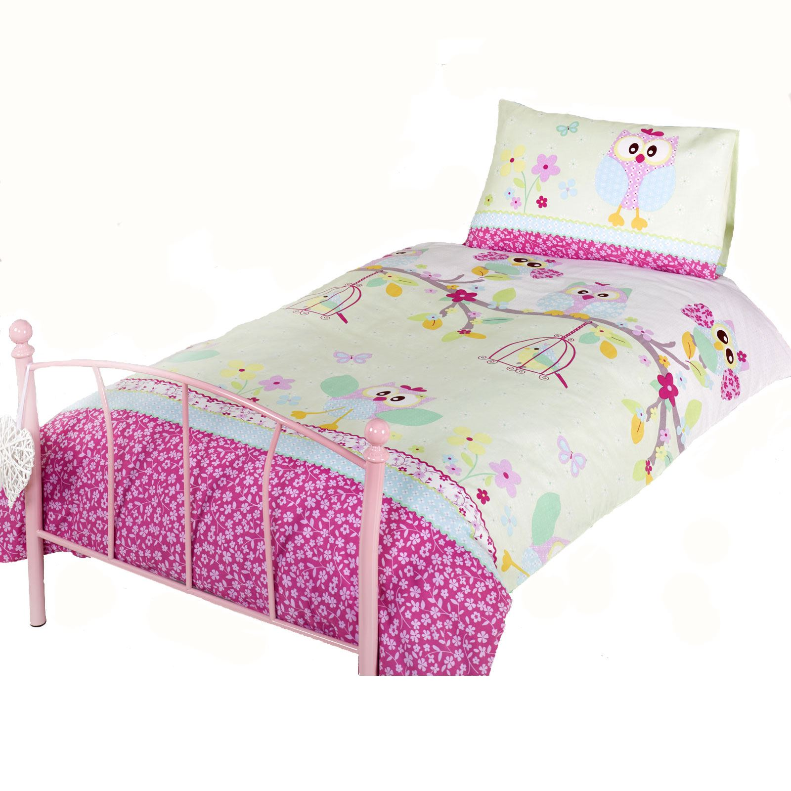 hiboux 39 twit twoo 39 housse couette simple new parure filles. Black Bedroom Furniture Sets. Home Design Ideas