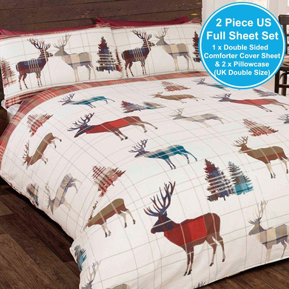 Cerf de bois double no l tartan ensemble couverture taie d 39 oreiller couette ebay - Housse de couette tartan ...