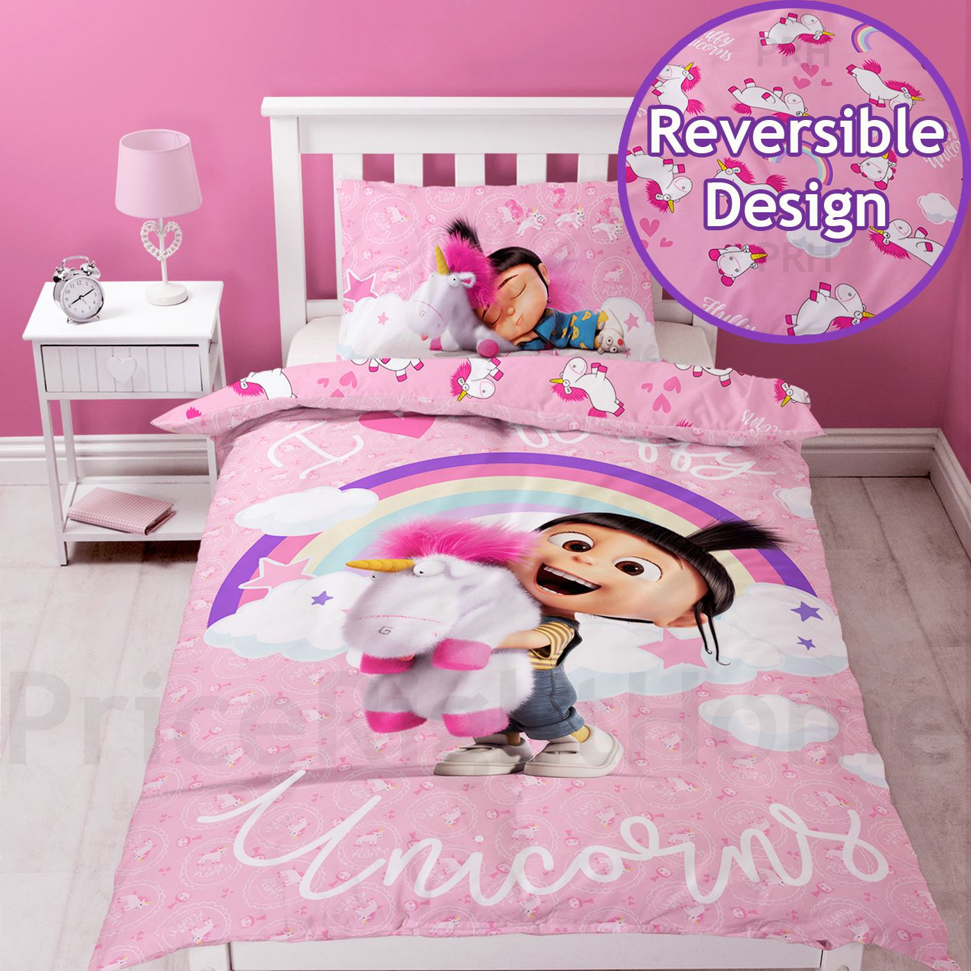 Despicable Me Fluffy Unicorn Duvet Cover Set Single