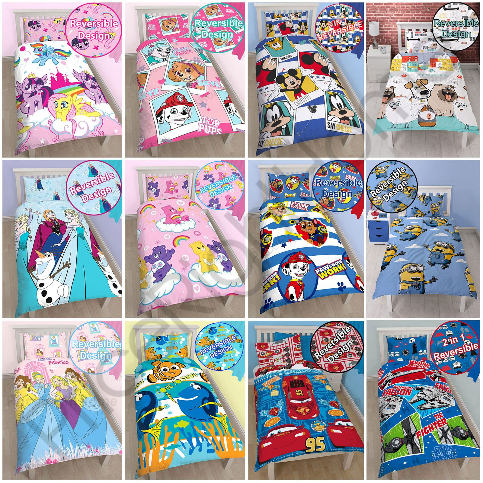 KIDS GIRLS BOYS SINGLE DUVET COVER SETS