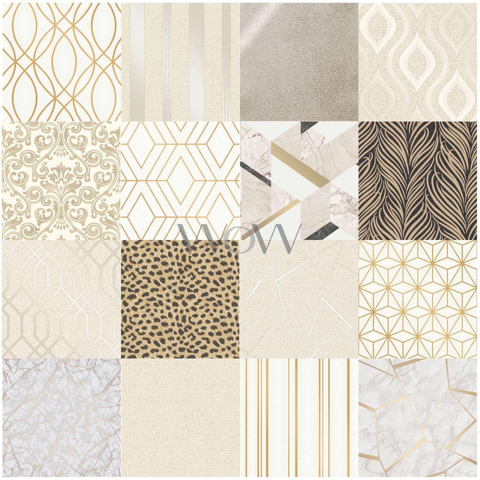 Gold Cream Wallpaper Fine Decor Geometric Metallic Glitter