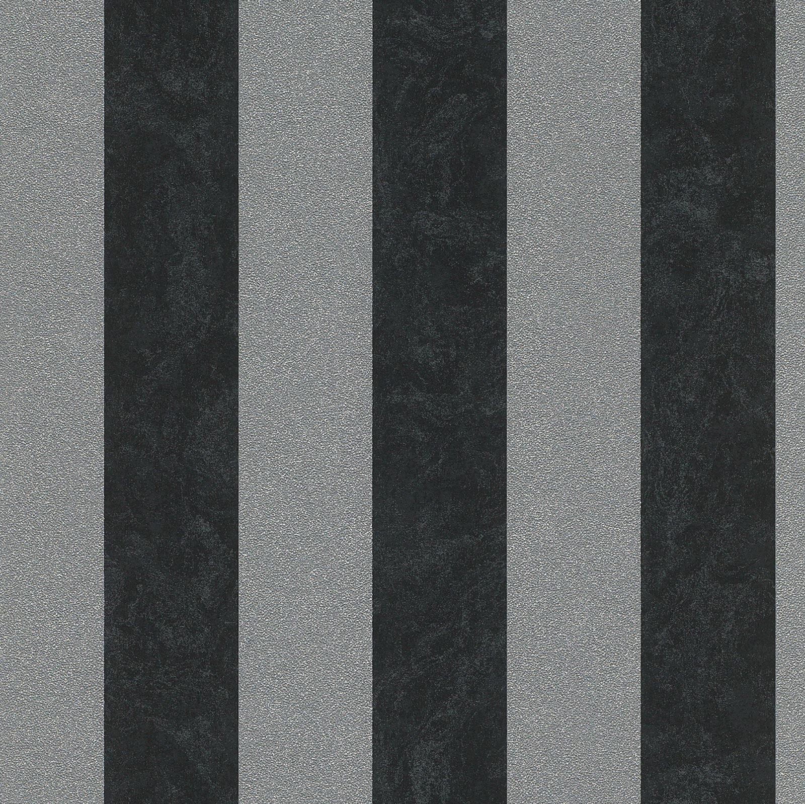 PS Carat Glitter Stripe Wallpaper 13346 40 Black Silver Feature