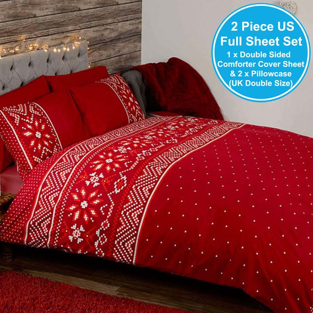 nordique no l double jeu de housse et taie d 39 oreiller couette rouge no l literie ebay. Black Bedroom Furniture Sets. Home Design Ideas