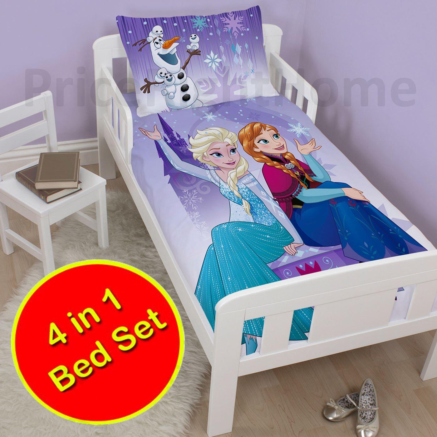 Disney Amp Character 4 In 1 Toddler Bedding Bundles Duvet Pillow Covers Ebay