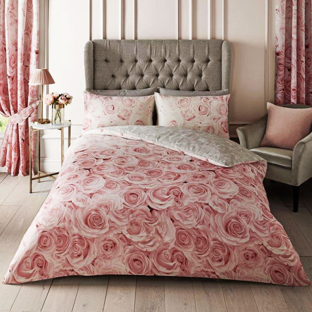 Details About REVERSIBLE BELLEROSE PINK FLORAL KING SIZE DUVET COVER SET    ROSES, GREY