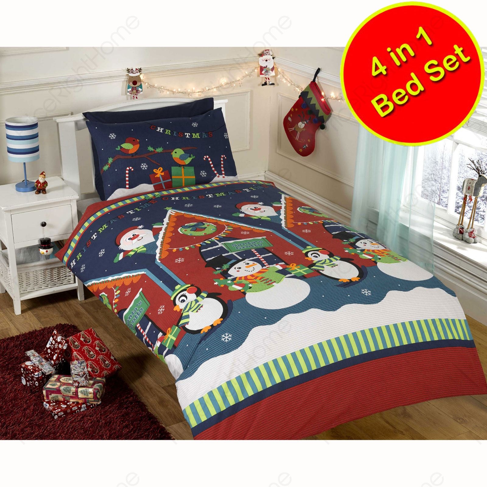 CHRISTMAS DUVET COVER BEDDING SETS – TWIN DOUBLE & JUNIOR – SANTA ... : junior bed quilt - Adamdwight.com