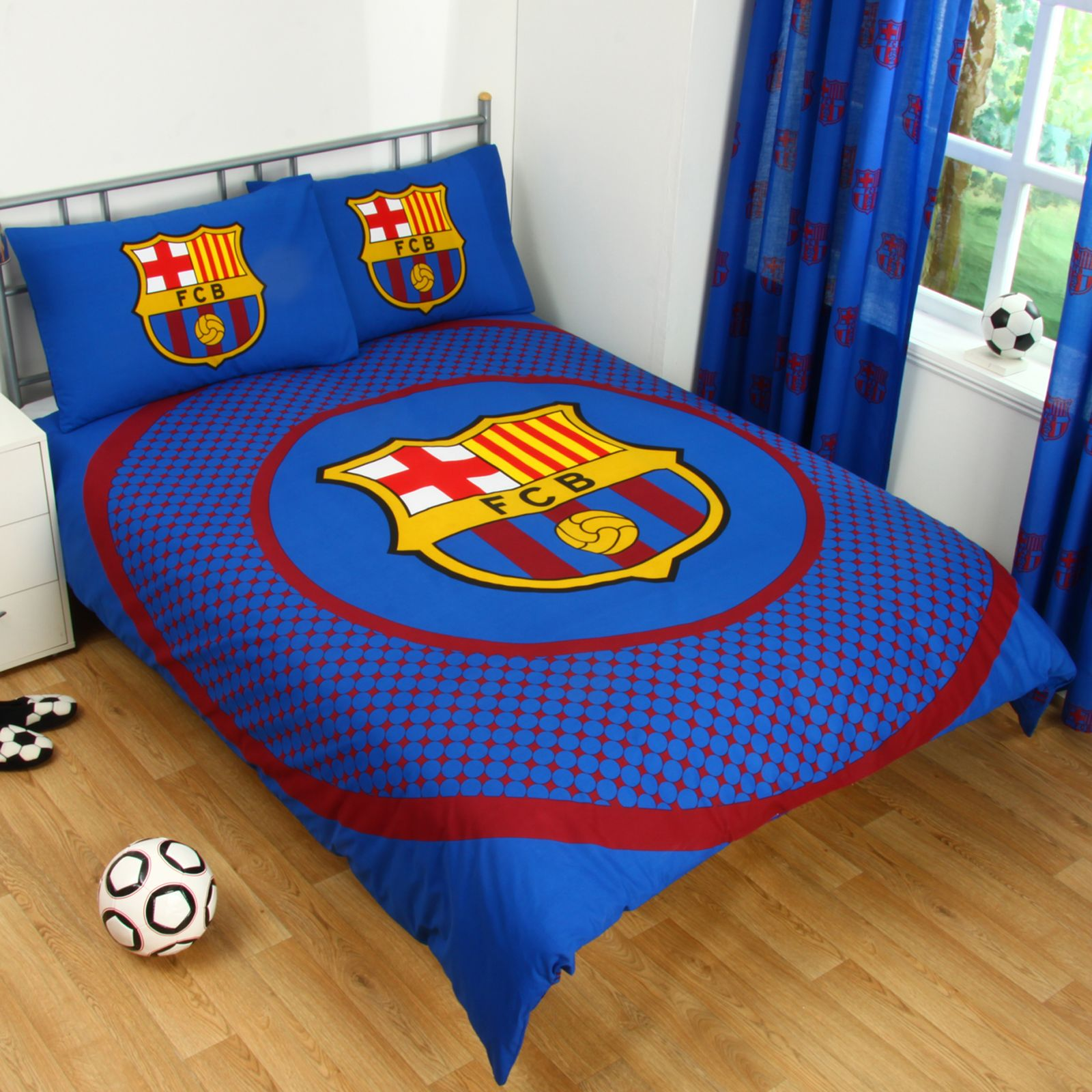 Great BARCELONA BEDDING BEDROOM ACCESSORIES BOYS FOOTBALL BLANKET DUVET