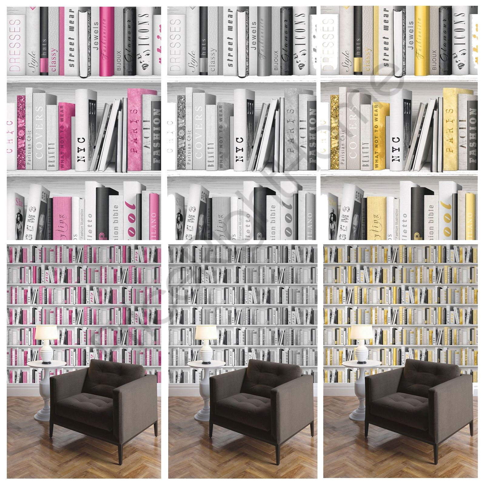 Fashion Library Bookcase Wallpaper Pink Gold Silver