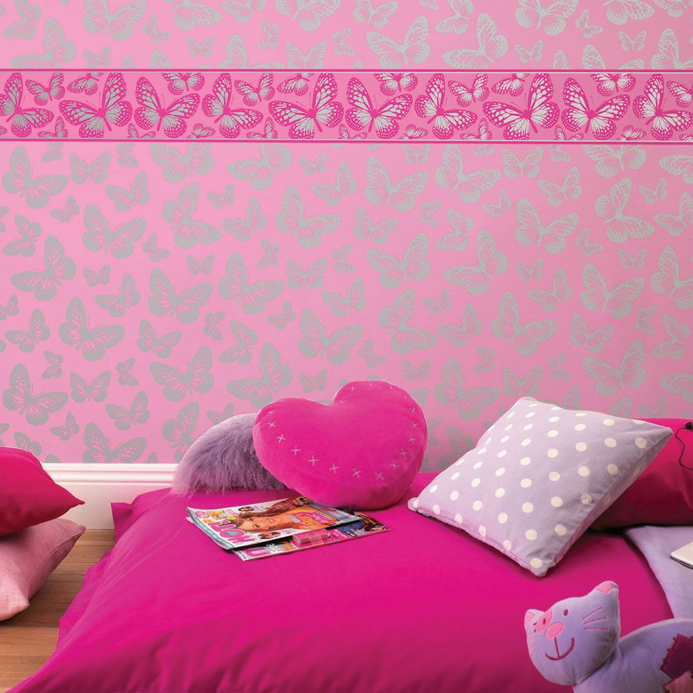 GIRLS GENERIC BEDROOM WALLPAPER BORDERS BUTTERFLY FLOWERS
