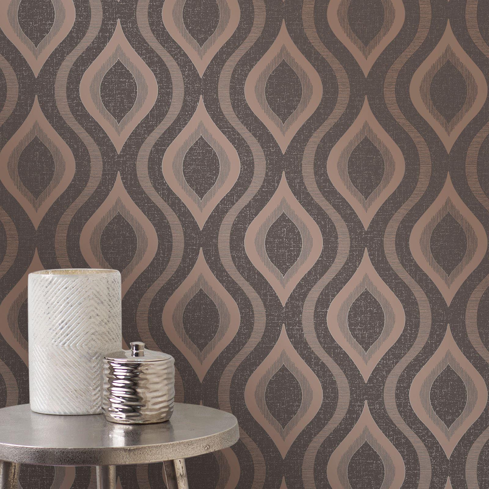 Newcastle United Bedroom Wallpaper Bedroom Decor Dark Wood Creative Apartment Bedroom Quirky Bedroom Furniture: FINE DECOR QUARTZ GEOMETRIC WALLPAPER ROSE GOLD SILVER