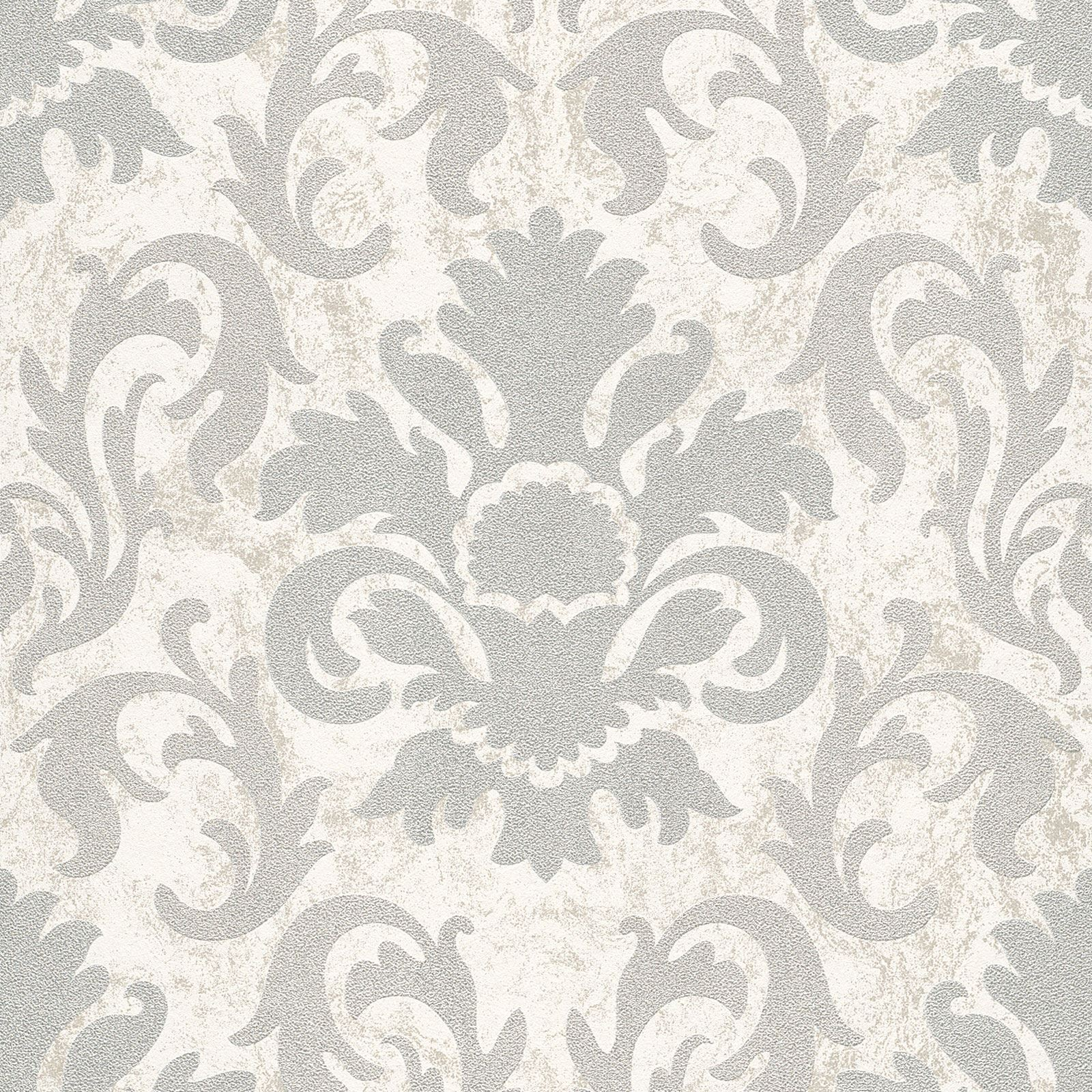 P s carat damask glitter wallpaper feature wall decor for Silver wallpaper for walls