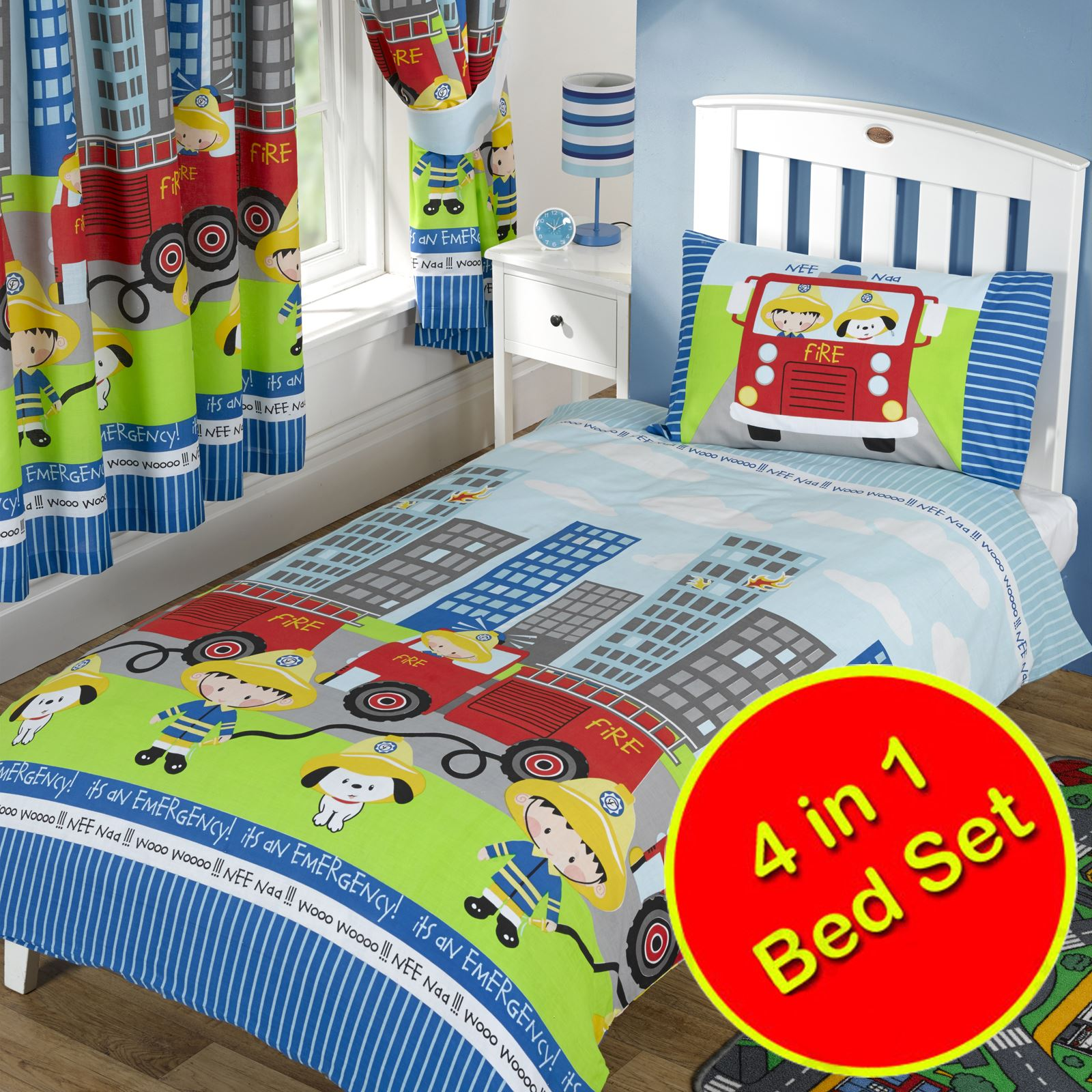feuerwehrauto 4 in 1 kinderbett bettw sche paket bettbezug neu ebay. Black Bedroom Furniture Sets. Home Design Ideas