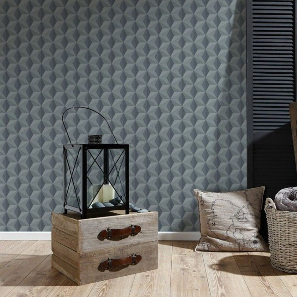 GREY PATTERNED WALLPAPER AS CREATION FEATURE WALL WOOD PLANKS TREES MAILBOX NEW