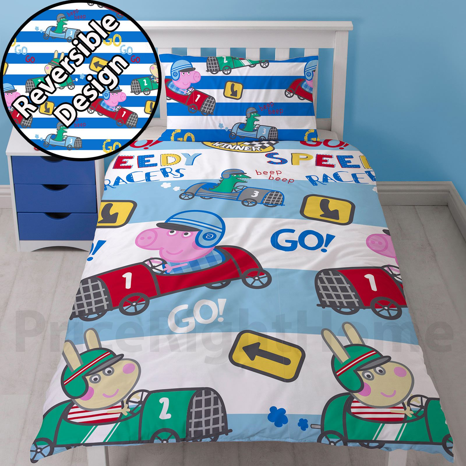 Edredon Nordico Peppa Pig.Details About Peppa Pig George Duvet Cover Set New Reversible 2 In 1