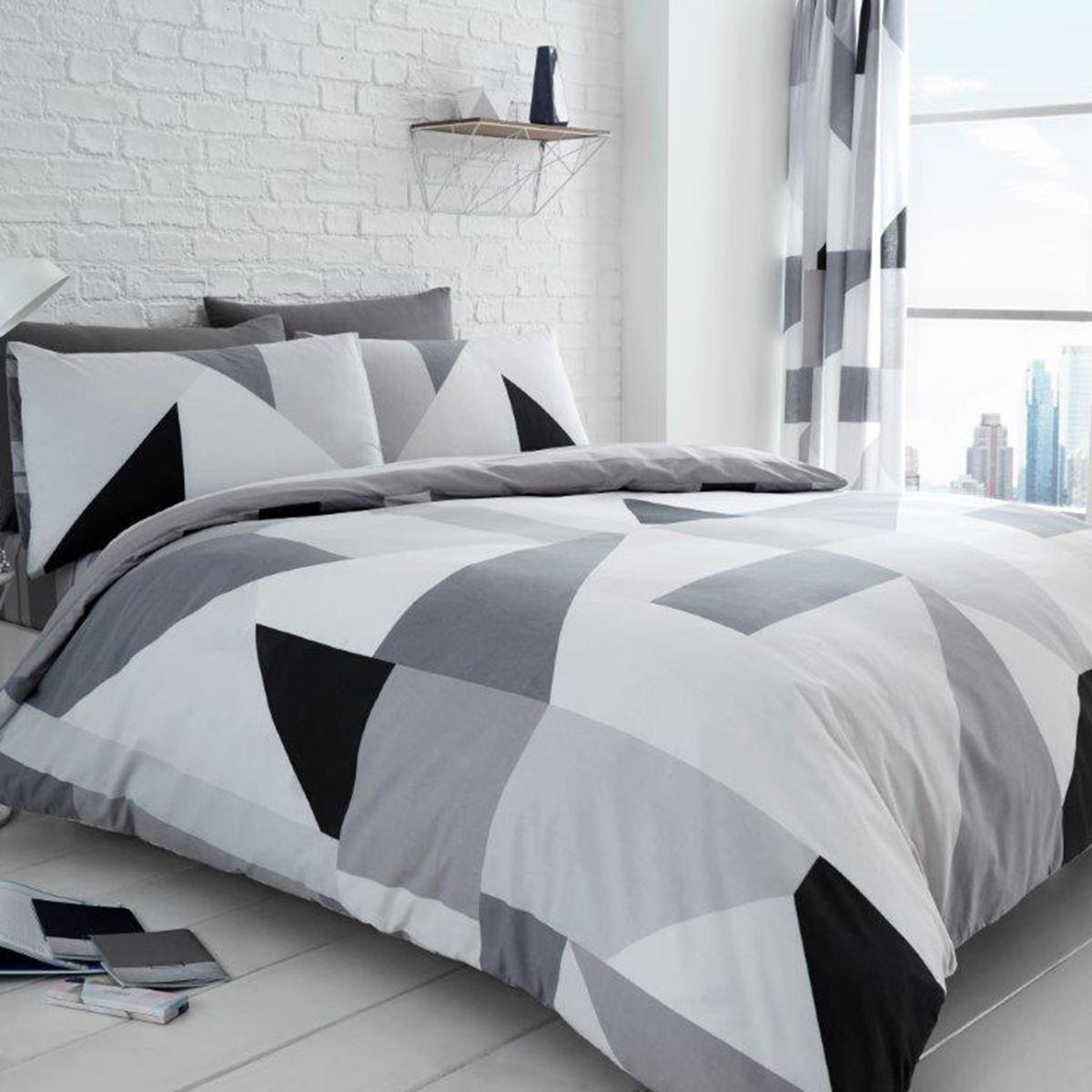 Sydney Geometric King Size Duvet Cover Set Bedding Black White