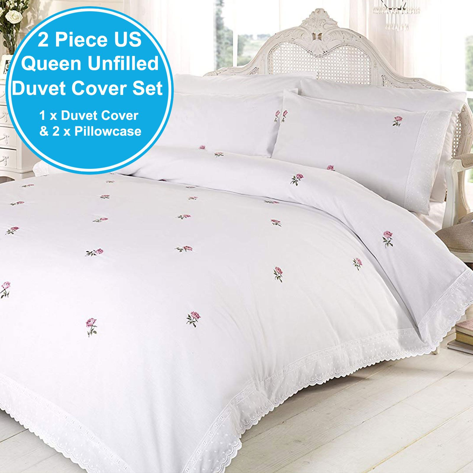 alicia floral white pink king size duvet cover set embroidered bedding ebay. Black Bedroom Furniture Sets. Home Design Ideas
