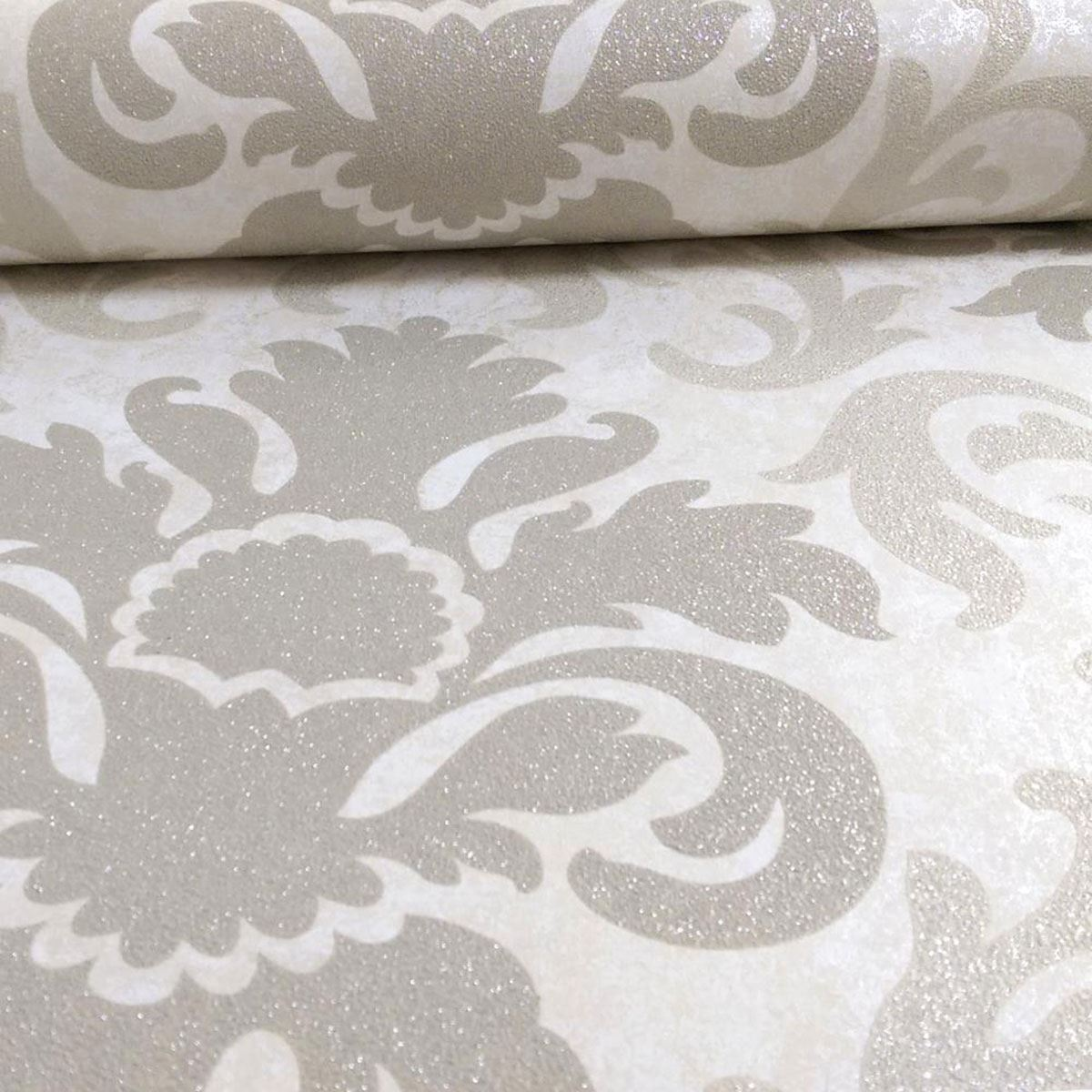 Silver Glitter Wallpaper For Bedroom Pamps Carat Damask Gold And Beige Glitter Wallpaper 10m Bedroom