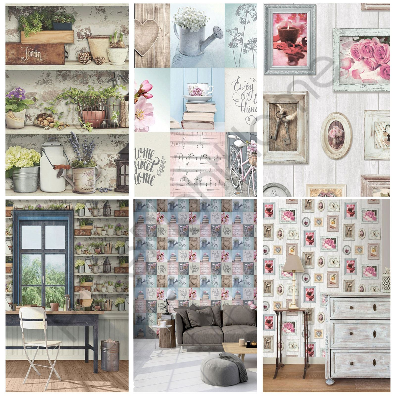 Muriva generic home wallpaper lazy days potting shed for Home wallpaper ebay