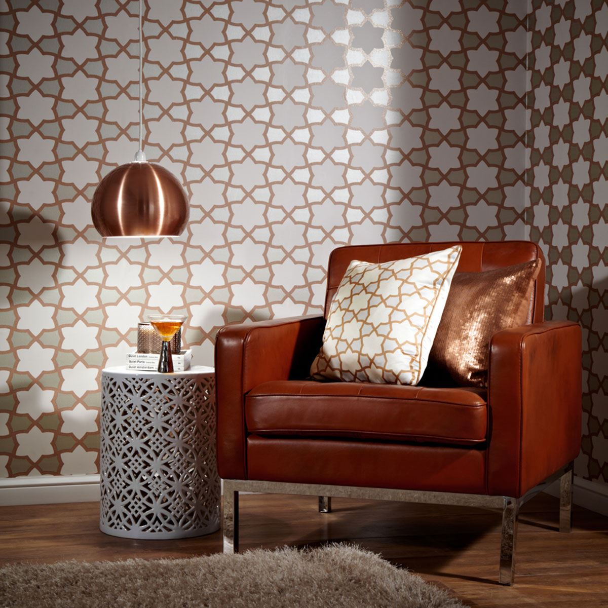 ARTHOUSE TROPICS RIO GEOMETRIC WALLPAPER COPPER Amp SILVER