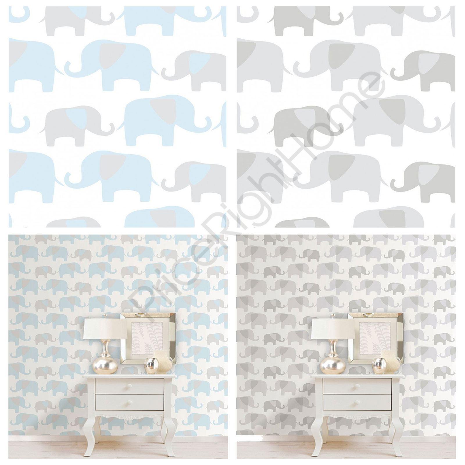NUWALLPAPER ELEPHANT PARADE PEEL & STICK WALLPAPER GREY & BLUE