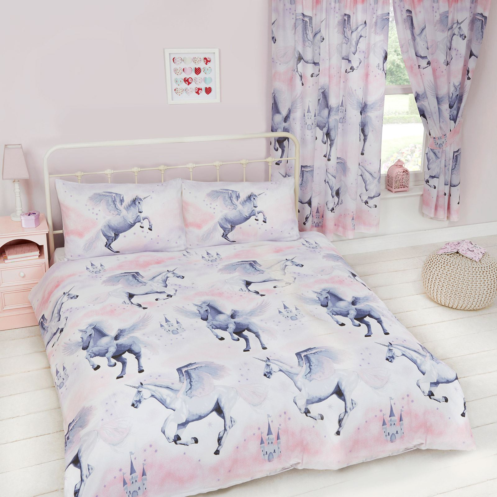 Stardust Unicorn Duvet Cover Set Single Double Junior Curtains