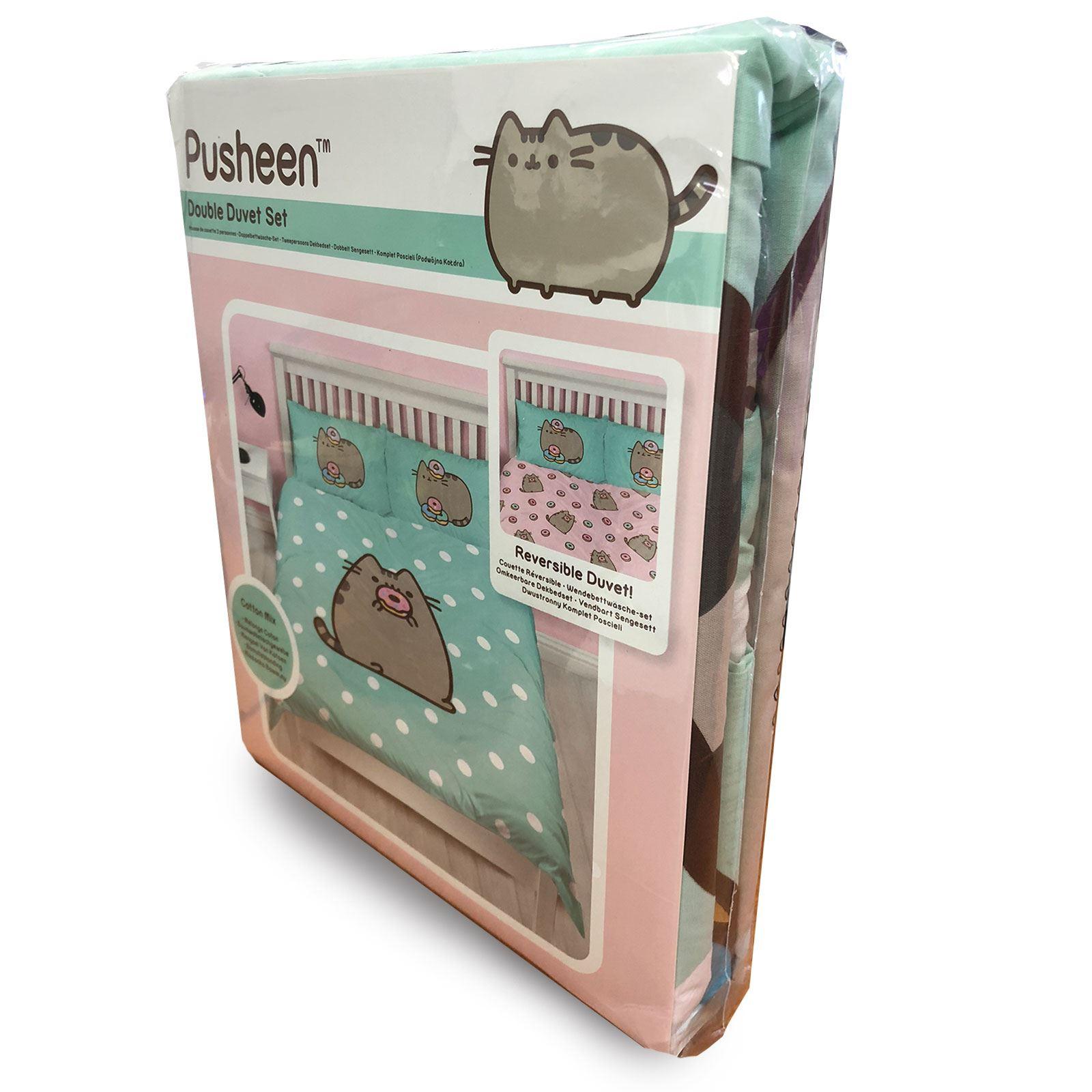 Primark New Pusheen Lazy Cat Double Duvet Size Cover Set Bedroom BNIP