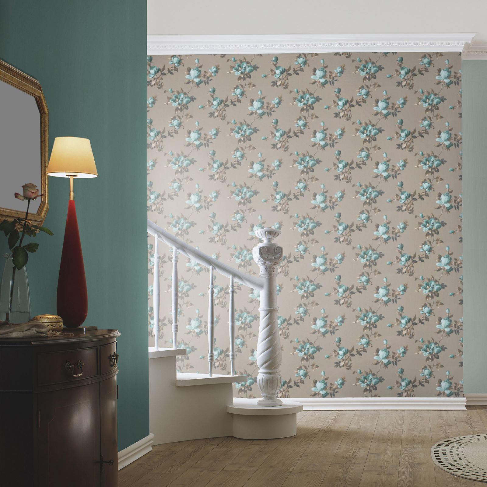 emilia rose blumen tapete gold smaragdgr n rasch. Black Bedroom Furniture Sets. Home Design Ideas