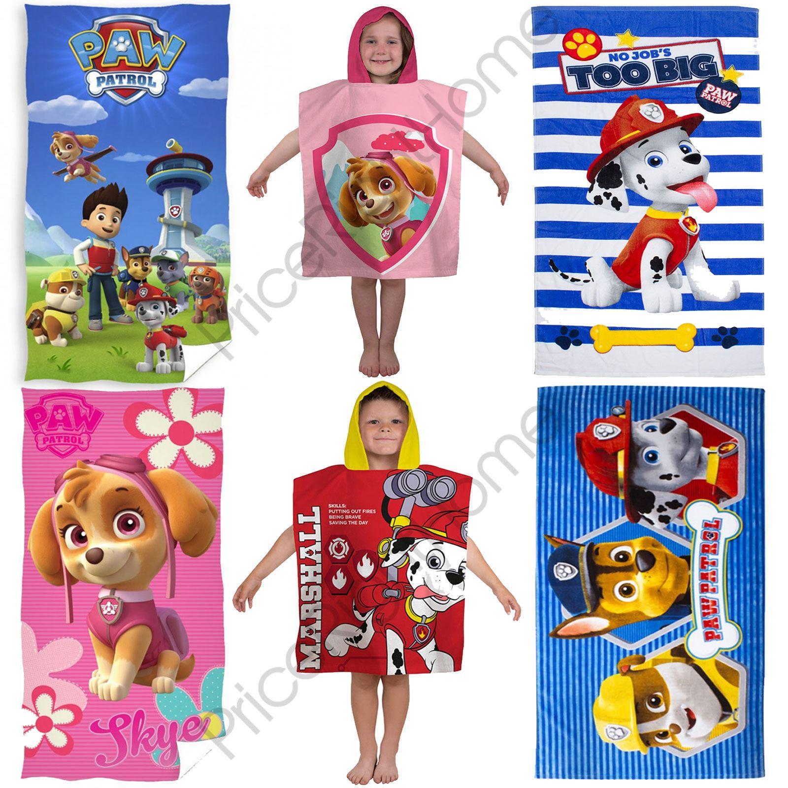 Kids Paw Patrol Beach Towels Amp Hooded Ponchos Girls Boys