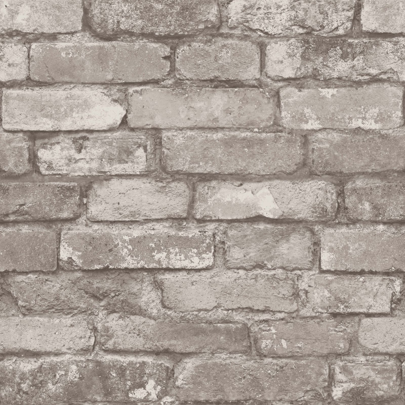 RUSTIC BRICK EFFECT WALLPAPER 10m SILVER GREY NEW
