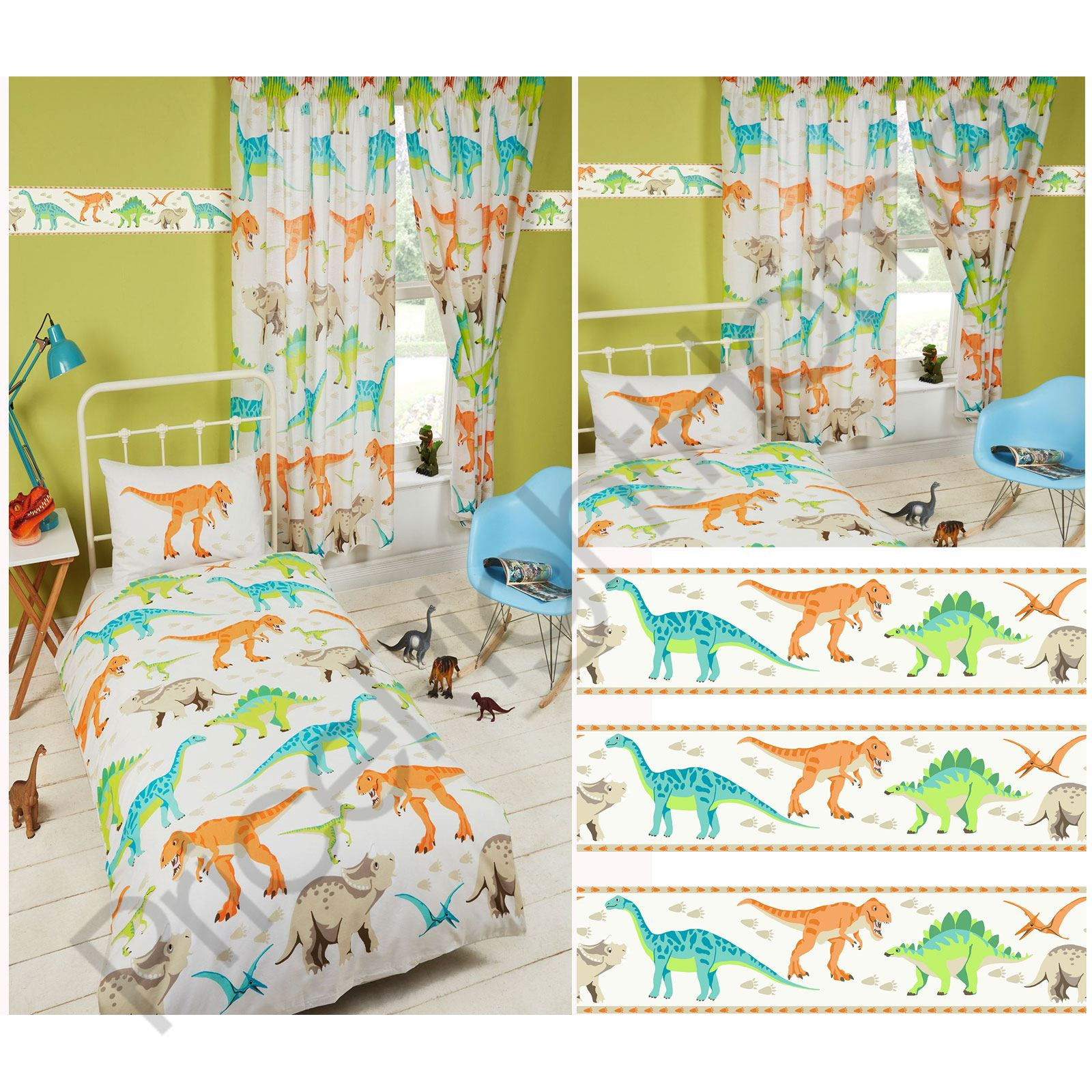 DINOSAUR WORLD KIDS MATCHING BEDDING SETS CURTAINS