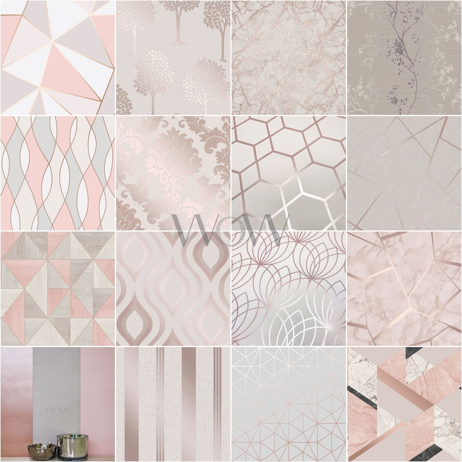 16 Rose Gold And Copper Details For Stylish Interior Decor: ROSE GOLD / PINK GREY BEIGE WALLPAPER STRIPE GEOMETRIC