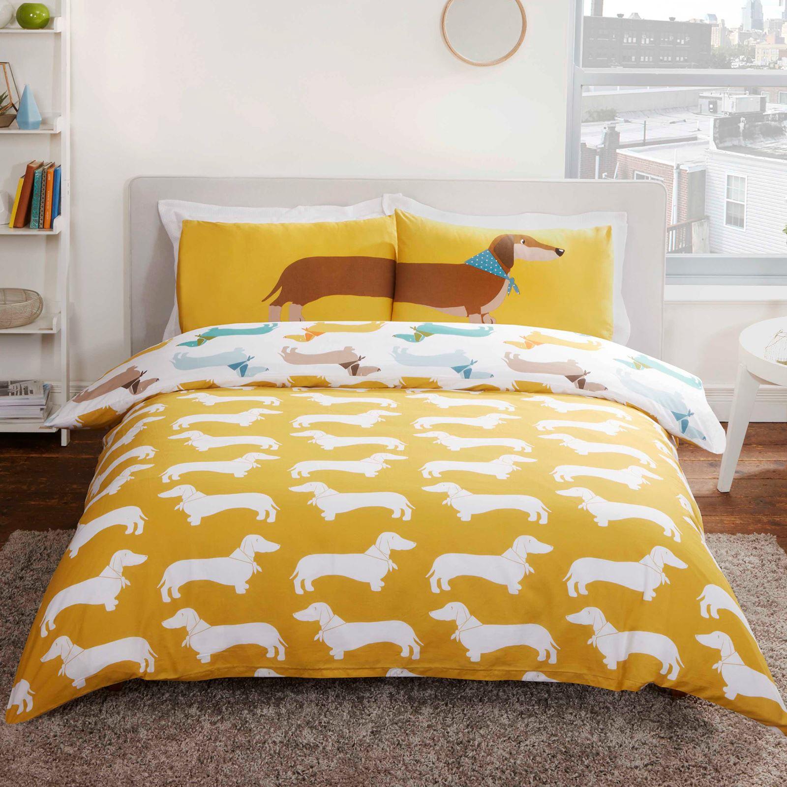 Sausage Dog Duvet Cover Set Bedding Kids Adults Single