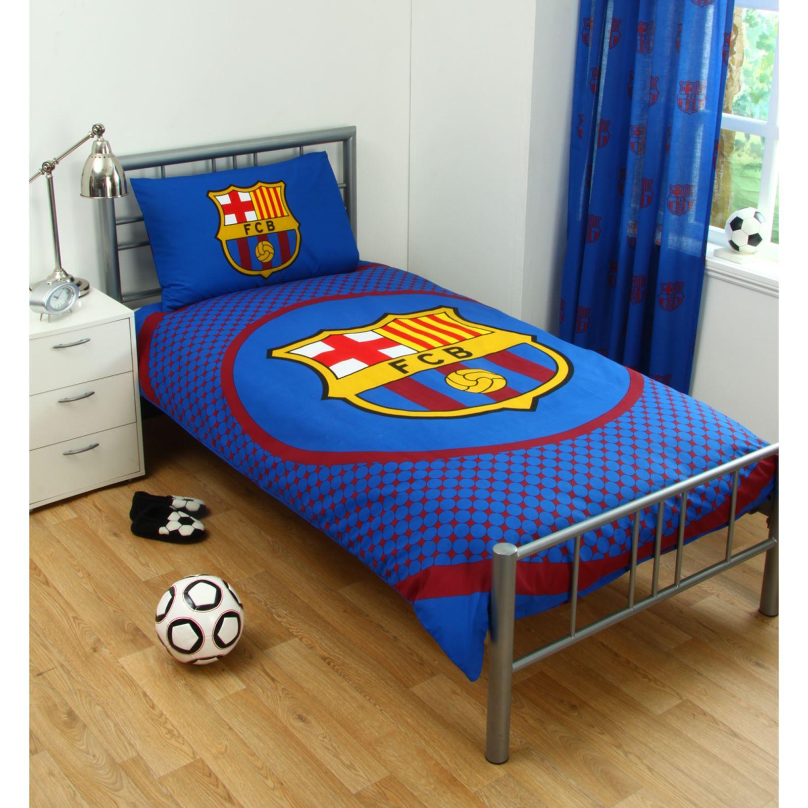 BARCELONA BEDDING BEDROOM ACCESSORIES BOYS FOOTBALL