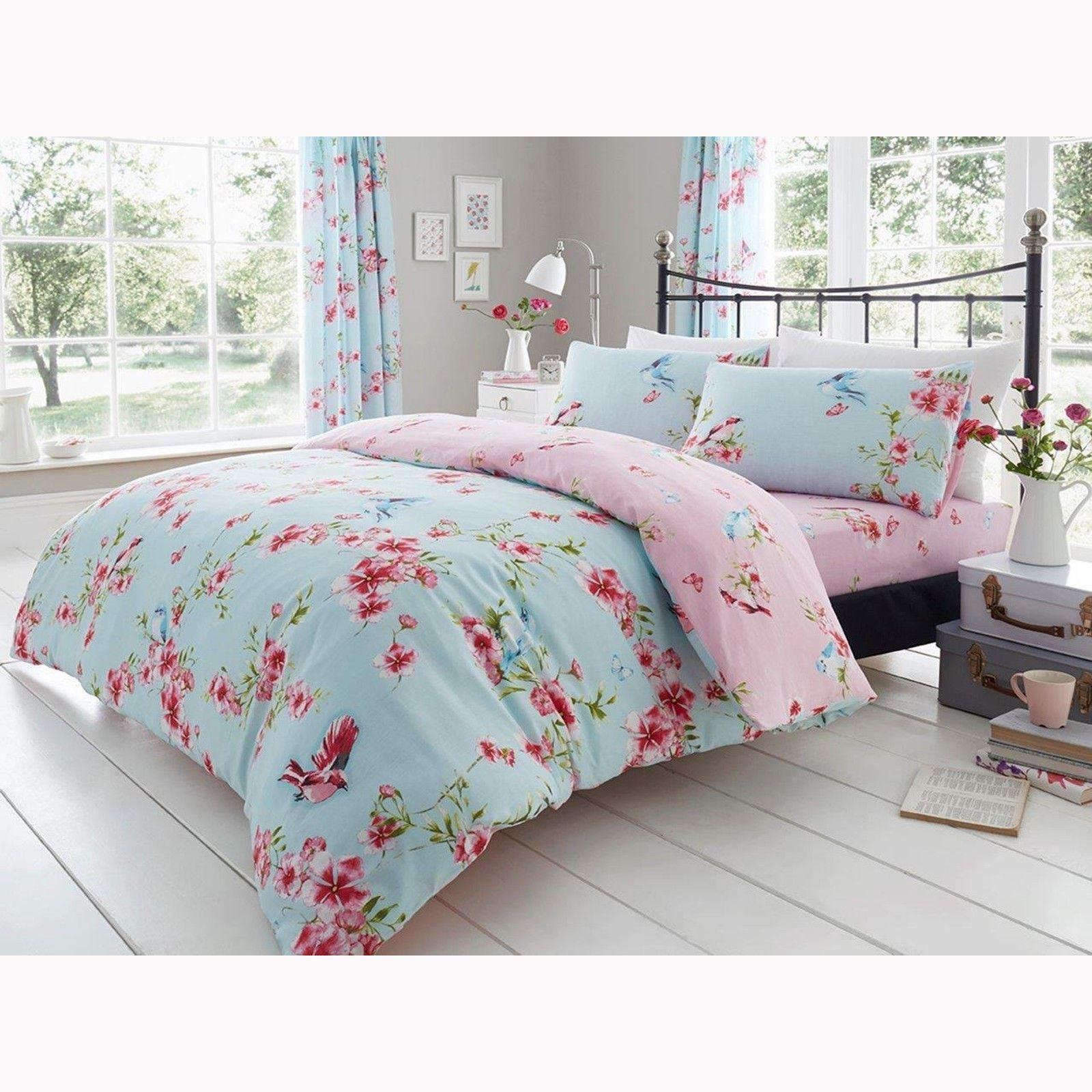Birdie Blüten Einzelbettbezug Set Vögel Blumen Bettwäsche Blau 2