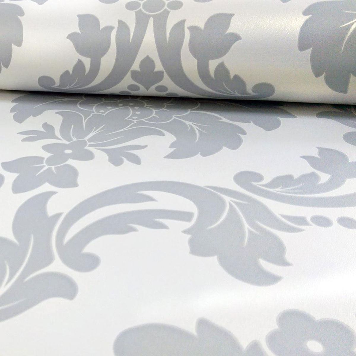 Arthouse romeo damask wallpaper black blush grey for Grey and cream wallpaper