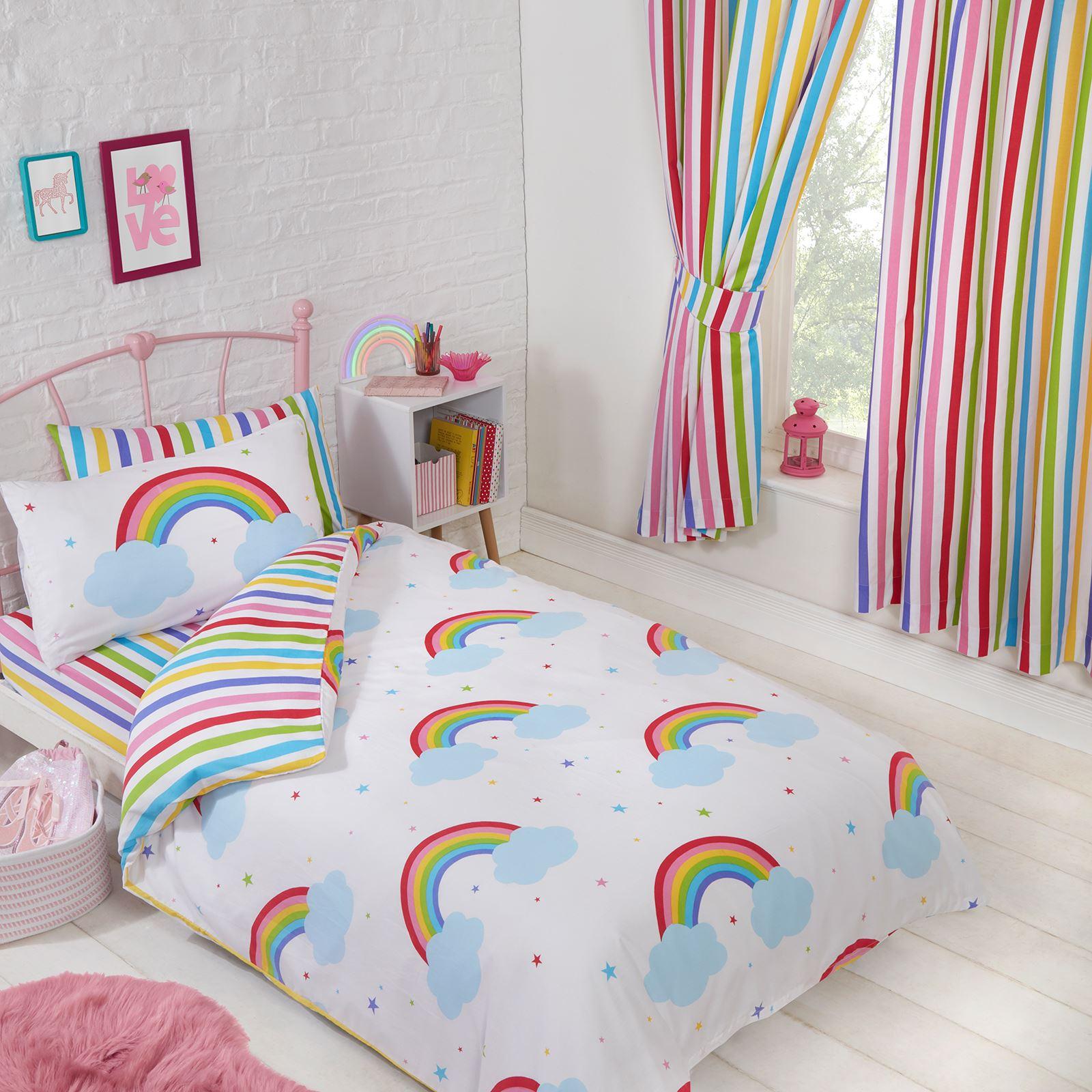 Flour shop rainbow stripe organic sheet set