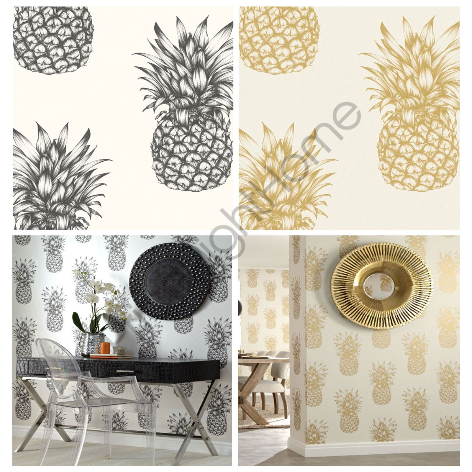 Arthouse Tropics Copacabana Pineapple Wallpaper Gold Black