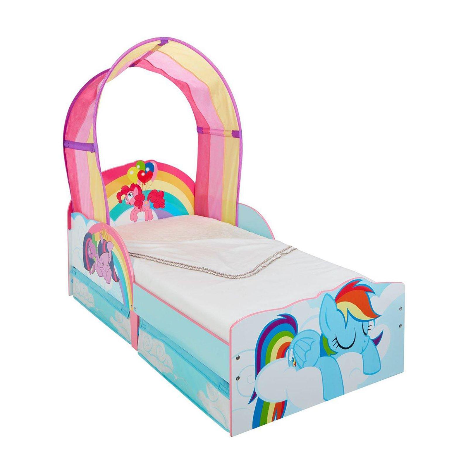 my little pony kleinkind bett mit lager entfernbarer regenbogen baldachin ebay. Black Bedroom Furniture Sets. Home Design Ideas