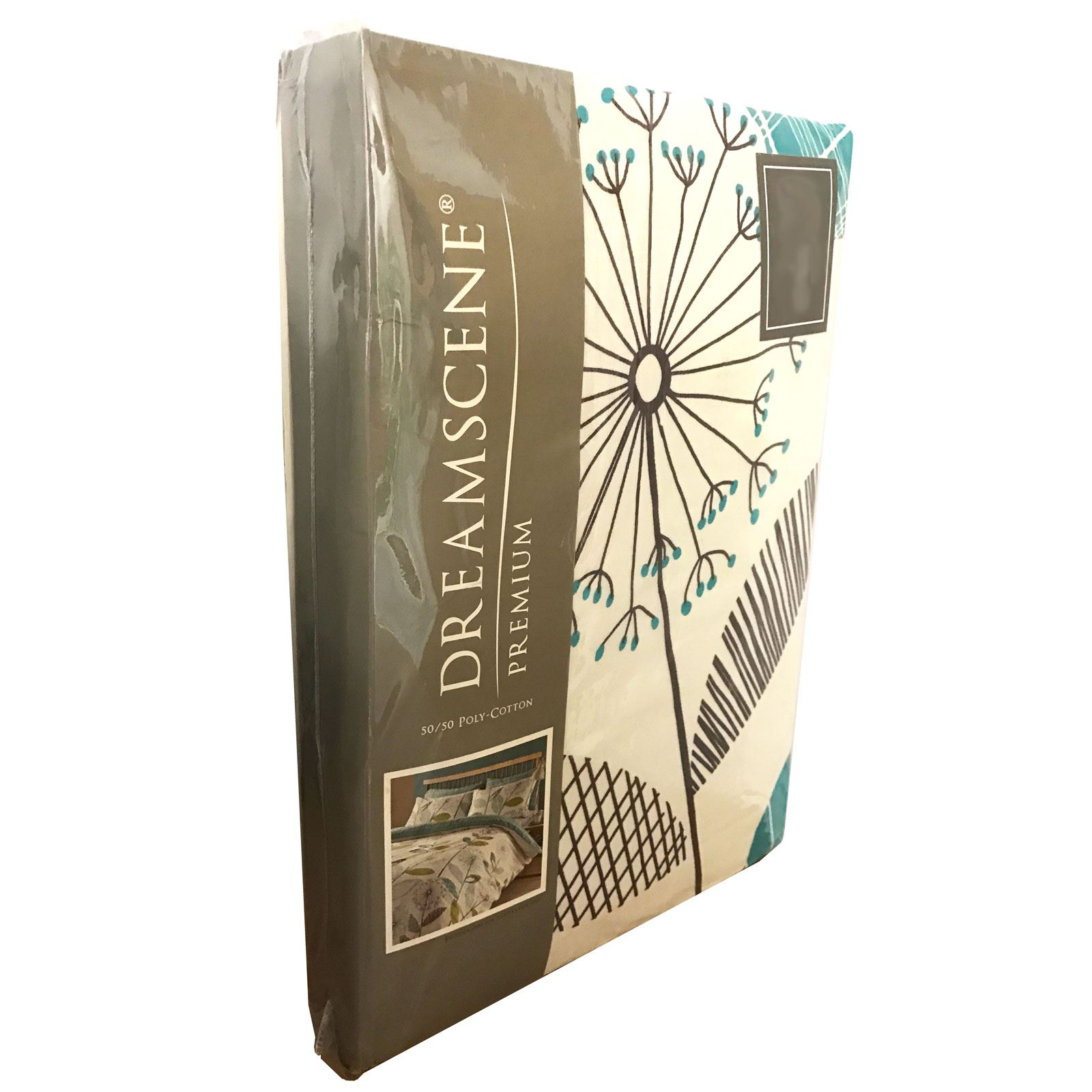 ALLIUM DANDELION TEAL KING SIZE DUVET COVER SET REVERSIBLE BEDDING GREEN WHITE