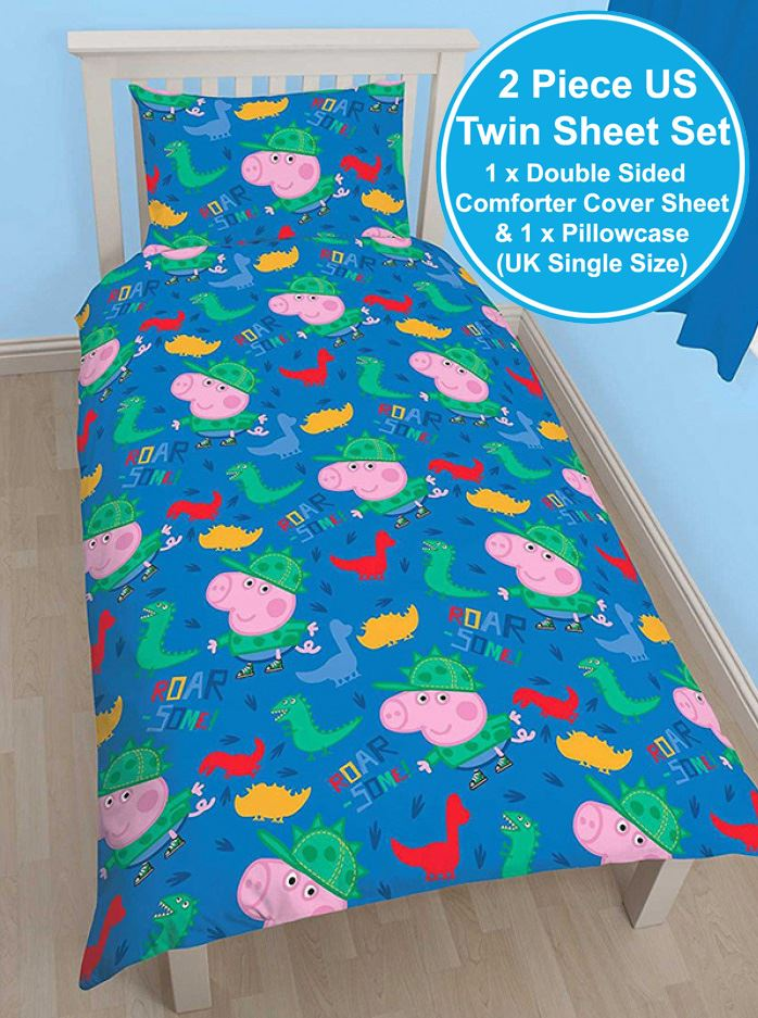 Details About Peppa Pig George Roarsome Single Duvet Cover Set Reversible Kids Bedding