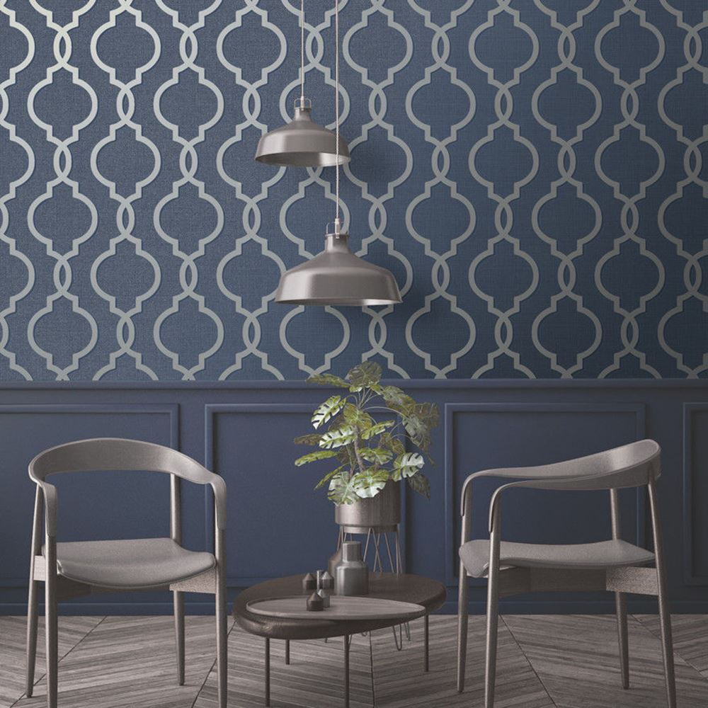 Geometric Wallpaper Modern Decor Triangles Trellis Silver Rose Gold