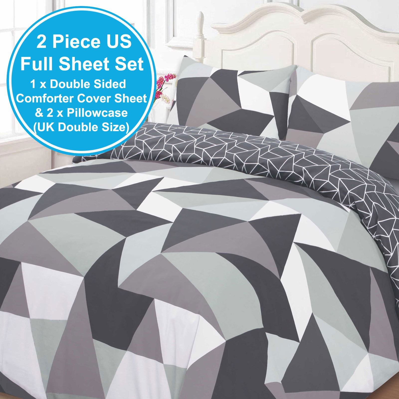 triangular shapes geometric double duvet cover set black  - triangular shapes geometric double duvet cover set black reversible free pp