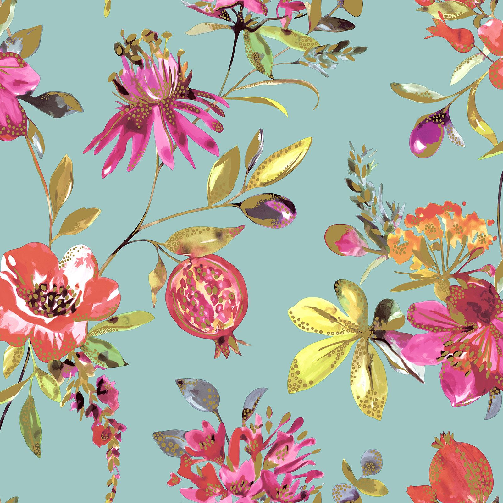 Metallic Teal Flowers Holden Melgrano Floral Wallpaper Pink Navy