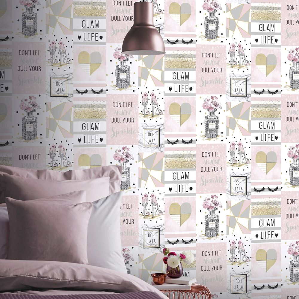 COLLAGE WALLPAPER KIDS ADULTS FLORAL SHABBY CHIC UNICORNS