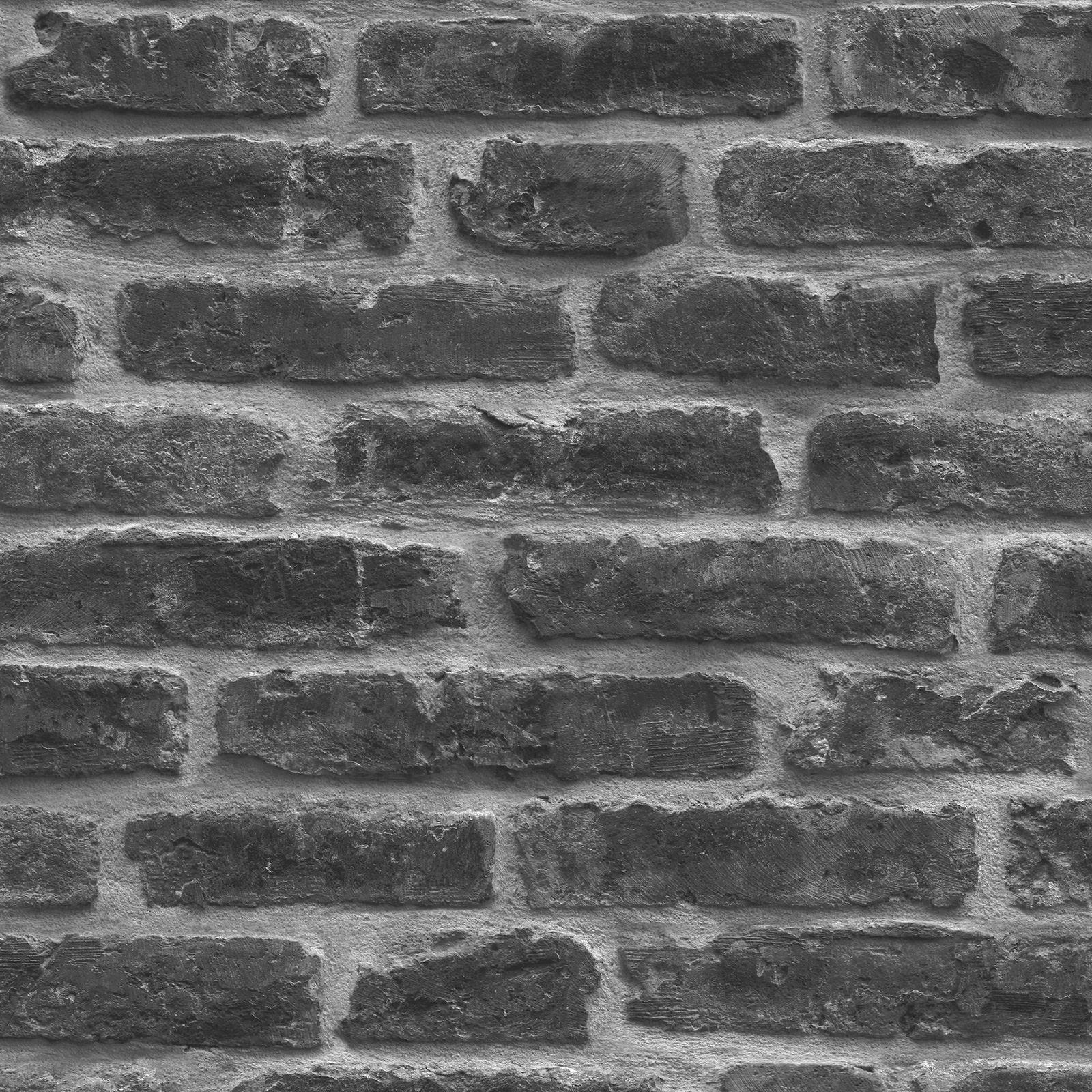 Rustikale ziegel wand tapete schwarz j34409 ugepa ebay for Rustikale tapete