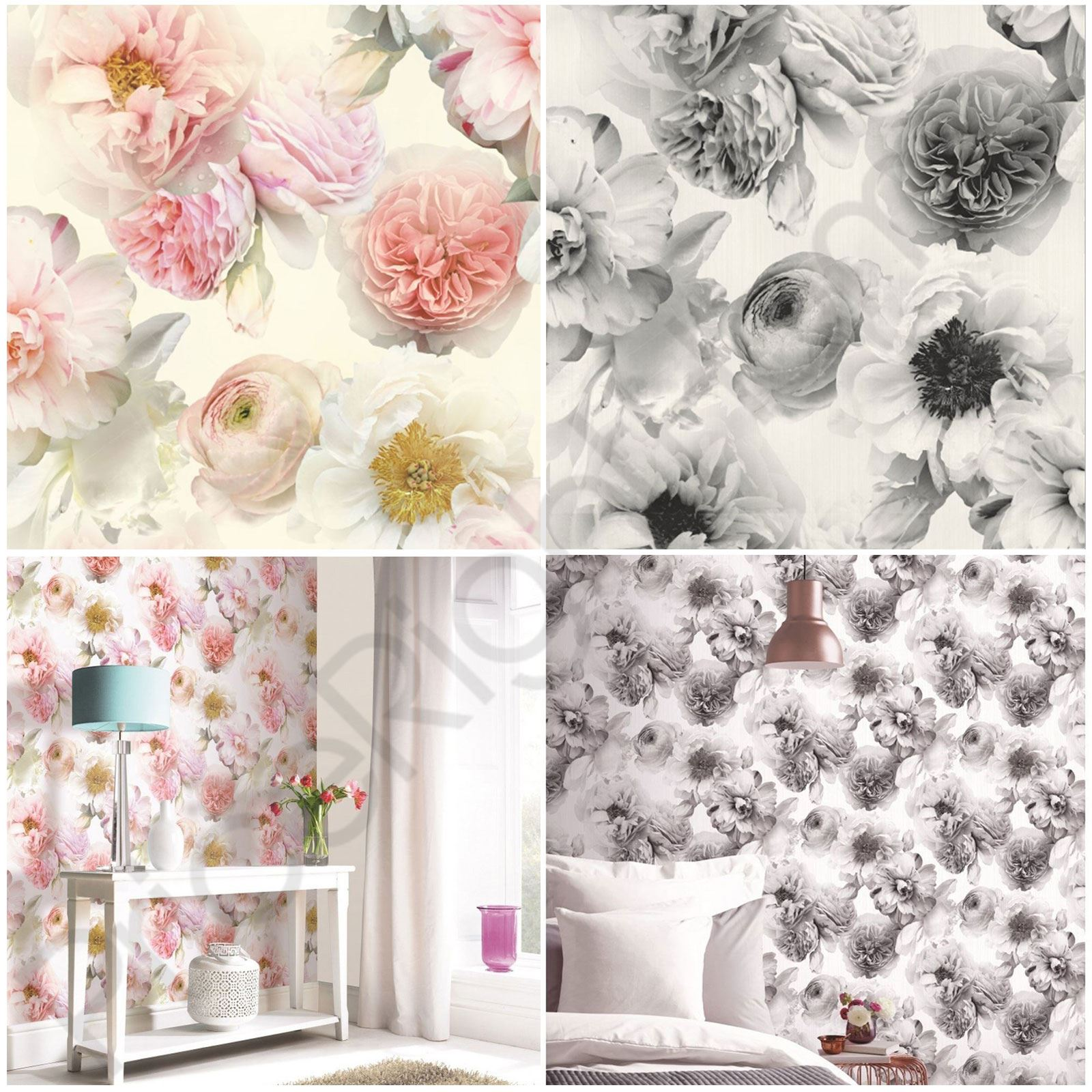 Arthouse Diamond Bloom Floral Wallpaper Flowers Glitter