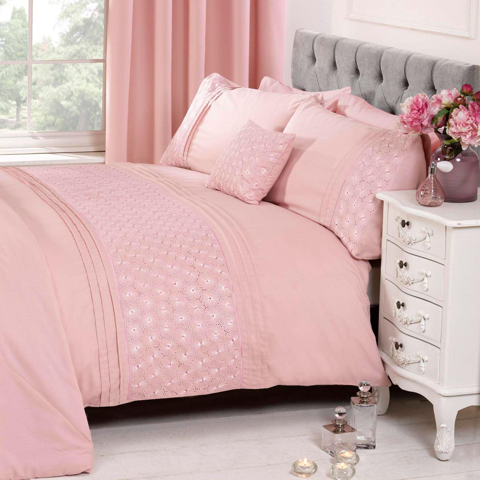 Everdean Floral Blush Pink King Size Duvet Cover Set Luxury Bedding 5027491463720 Ebay