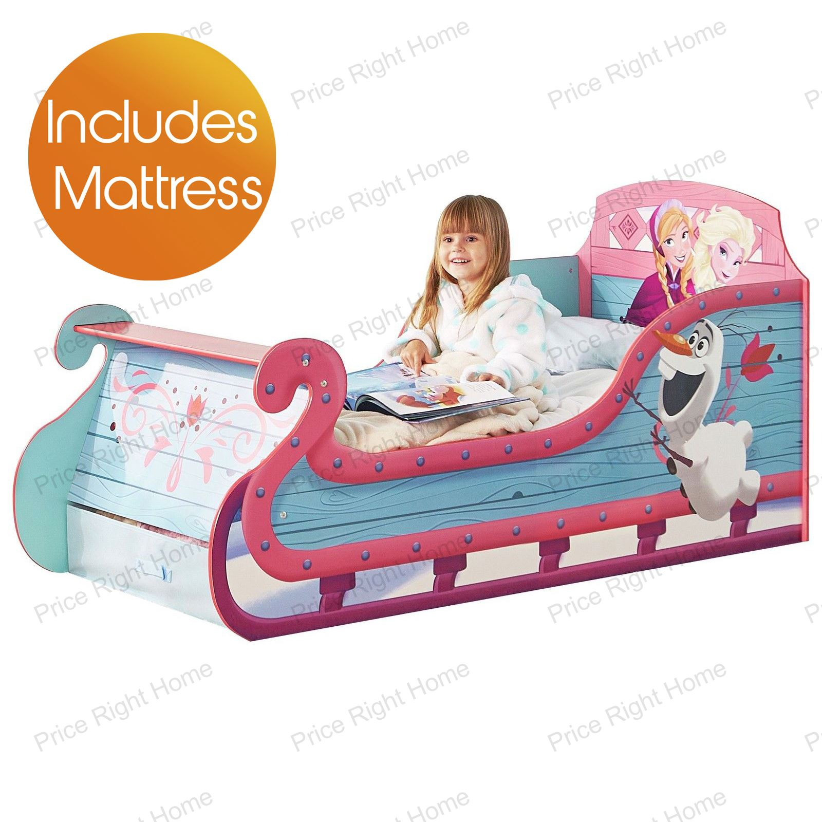 disney frozen schlitten kleinkind bett mit lager neue matratze ebay. Black Bedroom Furniture Sets. Home Design Ideas