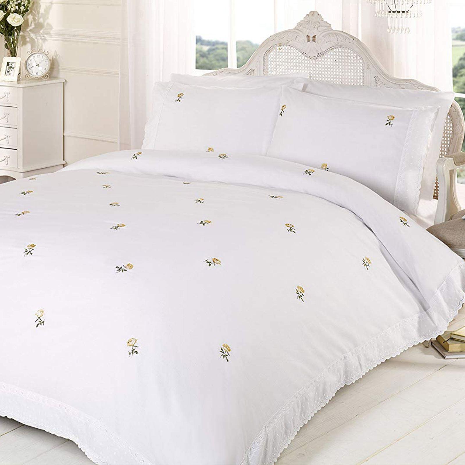 Alicia Floral White Yellow Duvet Cover Pillowcase Set Single 5027491957700 Ebay