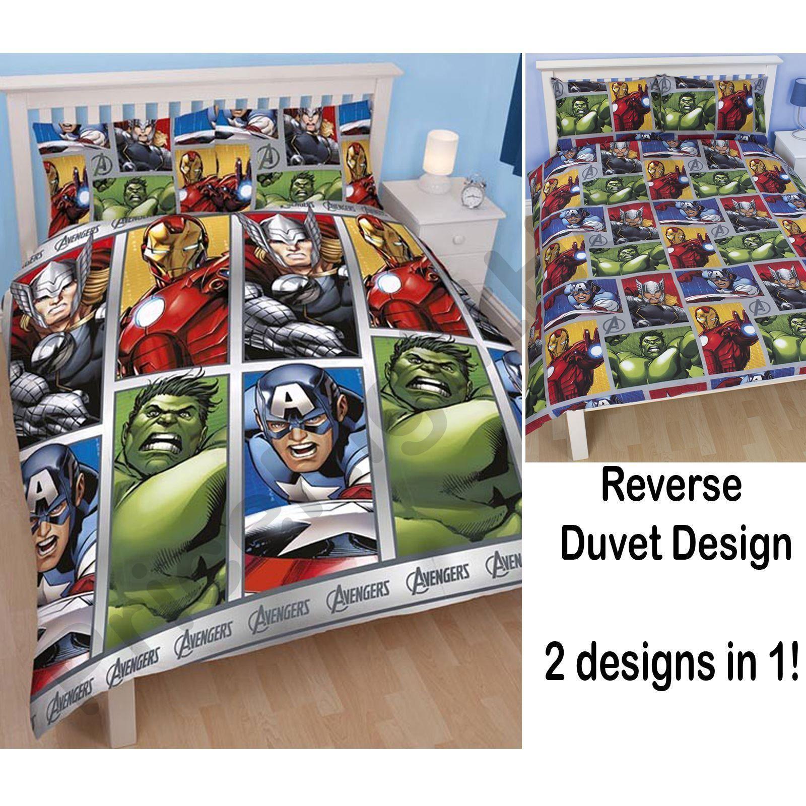 Vintage superhero bedding - Kids Disney And Character Double Duvet Cover Sets Avengers Awakens More Ebay
